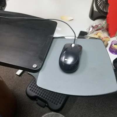 blog telephone system with swing out mouse tray